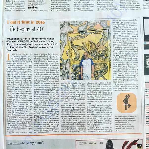 The Hindu's coverage on life after a Kidney transplant