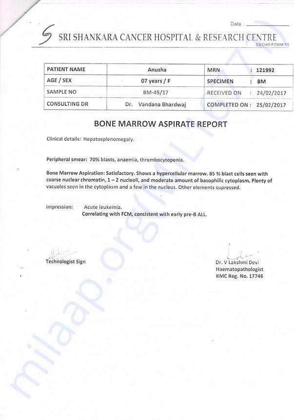 Bone marrow aspirate Report