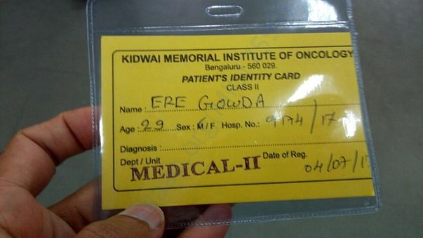 Admitted card in Kidwai Hospital, Banglore