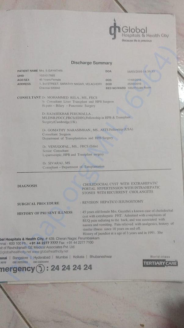 Discharge Summary from previous surgery at Global Hospital during 2010