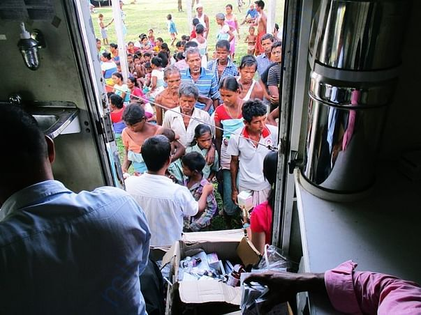 Assam flood relief operation in 2016 at Chirang District (Medicines)