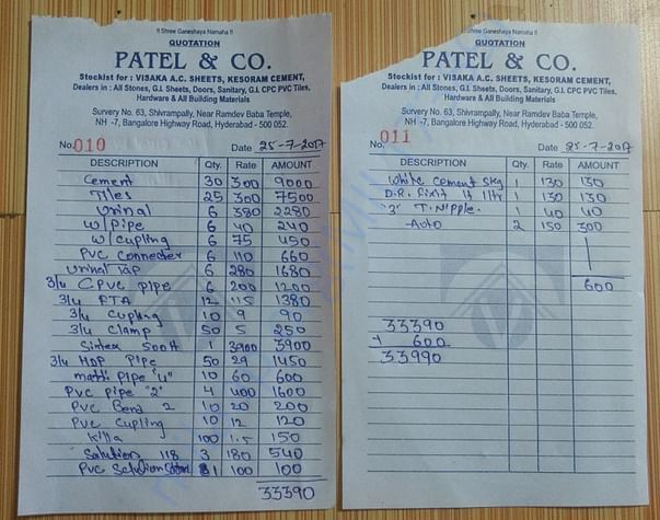 Pipework, sanitation, cement related estimates.
