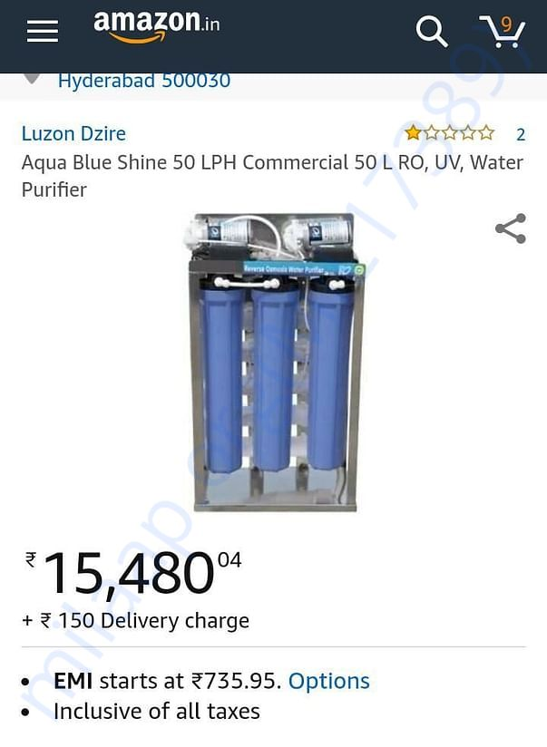 50LPH water purifier which we have planned to install.