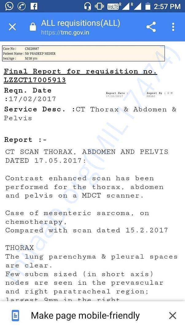 Pradeep's Test Report in Tata Memorial Hospital