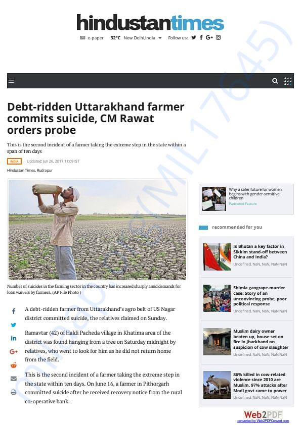 Debt ridden Uttrakhand farmer commits suicide