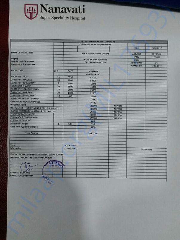 Second estimate given by nanavati