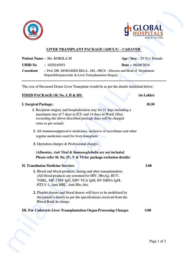 Cost estimate report