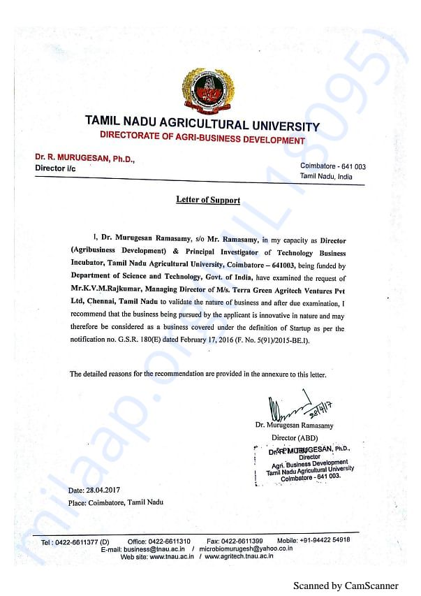 Letter of support from Tamilnadu Agri University