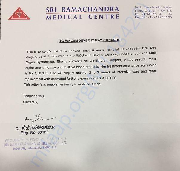 Letter from Hospital
