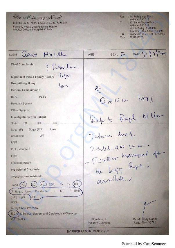 Doctor's Prescription, USG Reports, Biopsy Reports