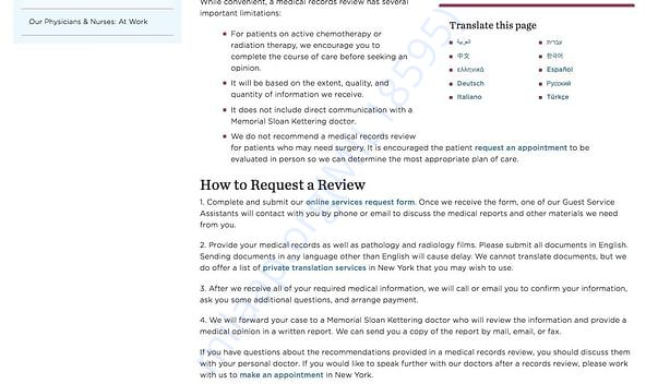 Sloan Kettering Medical Record Review page 2