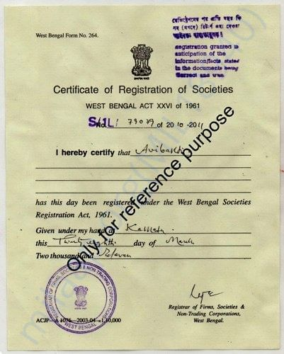 Certificate of Registration of Societies (For reference purpose)